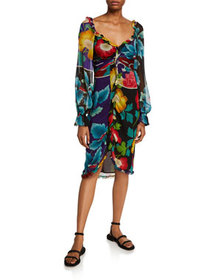 Etro Draped Georgette Japanese Floral-Print Dress