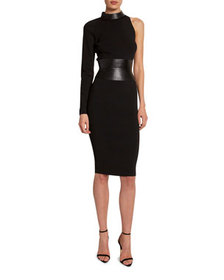 TOM FORD One-Sleeve Bodycon Dress with Leather Bel