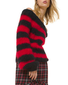 Michael Kors Collection Rugby Striped Off-the-Shou