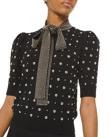 Michael Kors Collection Studded Cashmere Tie-Neck