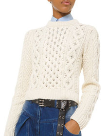 Michael Kors Collection Cashmere Studded Cable-Kni