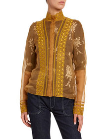 Chloe Embroidered Silk Organza Blouse