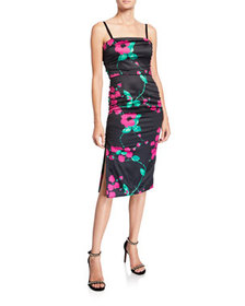 Milly Dayna Painted Floral Sleeveless Satin Cockta