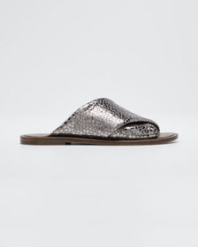 Brunello Cucinelli Flat Textured Leather Slide San