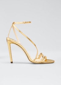 Jimmy Choo Tesca Metallic Lizard-Print Sandals