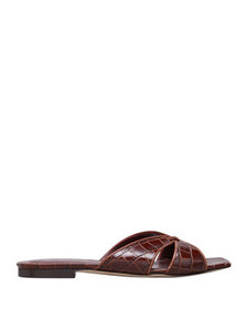Staud Flat Mock-Croc Slide Sandals