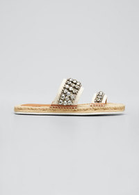 See by Chloe Embellished Two-Band Espadrille Slide