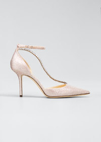 Jimmy Choo Talika Metallic Chain Stiletto Pumps