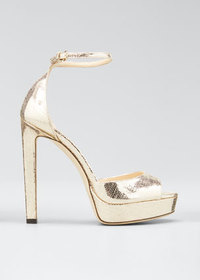 Jimmy Choo Pattie Lizard-Print Metallic Platform S