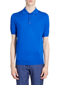 Berluti Men's Solid Wool Knit Polo Shirt