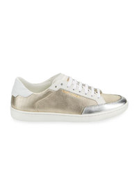 Saint Laurent Men's Perforated Metallic Leather Lo