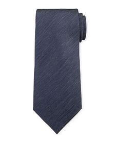 Ermenegildo Zegna Two-Tone Chevron Silk Tie, Navy/