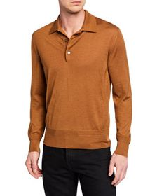 TOM FORD Men's Long-Sleeve Cashmere-Silk Polo Shir