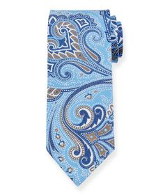 Ermenegildo Zegna Paisley Silk Tie, Light Blue