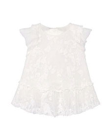 Mayoral Girl's Tonal Embroidered Tulle Dress, Size