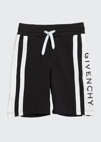 Givenchy Boy's Colorblock Logo Shorts, Size 6-10