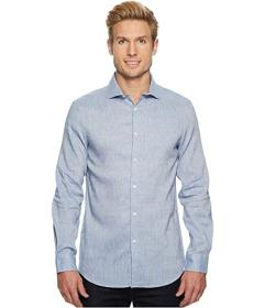 Perry Ellis Slim Fit Long Sleeve Solid Linen Shirt