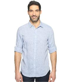 Perry Ellis Rolled Sleeve Solid Linen Shirt