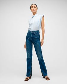 7 For All Mankind High Waist Straight with Raw Ins