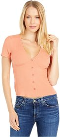 BCBGeneration V-Neck Button Front Short Sleeve Kni
