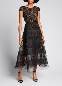 Marchesa Floral-Embroidered Tea-Length Tulle Dress