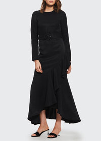 SIR The Label Inez Long-Sleeve Ruffle Gown