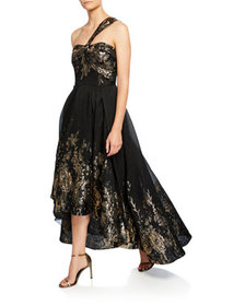 Marchesa Notte Draped One-Shoulder High-Low Metall