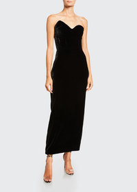 Monique Lhuillier Velvet Asymmetric Strapless Gown
