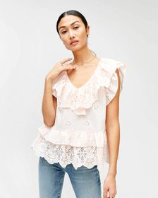 7 For All Mankind Double Ruffle Eyelet Top in Pink