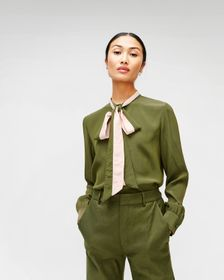 7 For All Mankind Contrast Tie-Neck Blouse in Mili