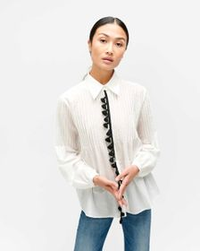 7 For All Mankind Pintuck Tassel Blouse in Optic W