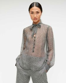 7 For All Mankind Chiffon Tie-Neck Top in Houndsto