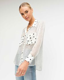 7 For All Mankind Patch Pocket Blouse in White and