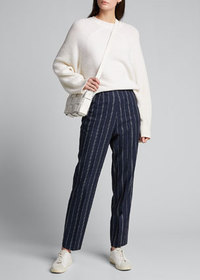 Kiton Pinstriped Silk-Linen Crop Pants