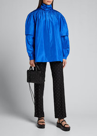 Balenciaga Crystal-Studded Wool Gabardine Crop Pan