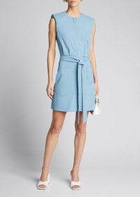 Tibi Chalky Drape Short Shirtdress with Shoulder P