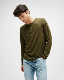 7 For All Mankind Linen Henley in Olive