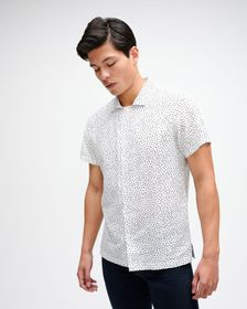 7 For All Mankind Short Sleeve Printed Shirt in Tr