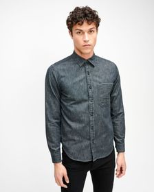 7 For All Mankind One Pocket Selvedge Shirt in Gre