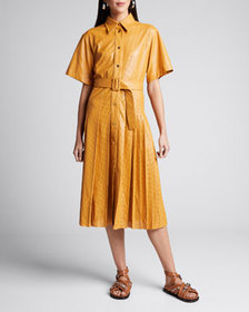 Cedric Charlier Perforated Faux-Leather Belted Shi