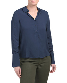 TAHARI Blouse With Overlap Cuffs