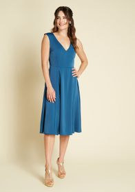 ModCloth Your Luxe-y Day Satin Midi Dress Blue