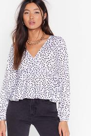 Nasty Gal White Sorry Dot Going Cropped Wrap Top