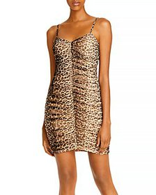 AQUA - Ruched Leopard Print Dress - 100% Exclusive