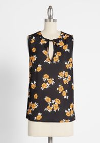 ModCloth Tied and True Blouse Black Floral