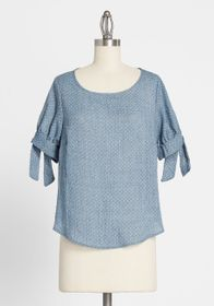 Gilli Gilli Believe It or Dot Tie-Sleeve Blouse Bl