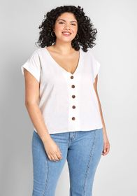 ModCloth ModCloth Lovely in Linen-Blend Blouse Whi