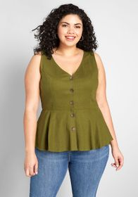 ModCloth ModCloth Light and Lovely Buttoned Tank T