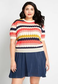 Palava Pointelle Made Pullover Sweater Coral Multi