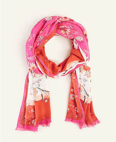 Striped Floral Scarf